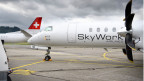 Eine Maschine der gegroundeten SkyWork Airline am Flughafen Bern-Belp am 30. August 2018.