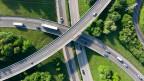 Autobahn A1 Zubringer bei Ecublens – Crissier.