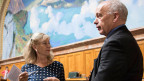 Nationalrätin Susanne Leutenegger Oberholzer, SP-BL (links) und Bundesrat Ueli Maurer an der Herbstsession.