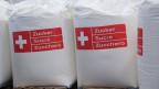 Abgepackte Säcke mit Zucker in der Zuckerfabrik Aarberg.