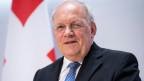 Bundesrat Johann Schneider-Ammann anlässlich der Medienkonferenz zu seinem Rücktritt am 25. September 2018.