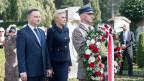 Andrzej Duda, Präsident von Polen, und Agata Kornhauser-Duda, First Lady von Polen, bei der Einweihung des Denkmals für den polnischen Holocaust-Retter Konstanty Rokicki am 9. Oktober 2018 auf dem Friedhof Friedental in Luzern.
