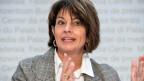 Bundesrätin Doris Leuthard an der Medienorientierung über die Zersiedelungsinitiative.