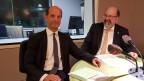 Das Bild zeigt Beat Rieder, CVP-Ständerat aus dem Wallis und Joachim Eder, FDP-Ständerat aus Zug im Studio von Radio SRF.