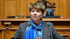 Viola Amherd erklärt Annahme der Wahl zum 118. Mitglied des Bundesrates.