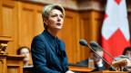 Karin Keller-Sutter erklärt Annahme der Wahl zum 119. Mitglied des Bundesrates.