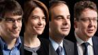 SP-Fraktionspräsident Roger Nordmann, FDP-Präsidentin Petra Gössi, CVP-Präsident Gerhard Pfister und SVP-Präsident Albert Rösti.