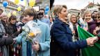 Die frischgebackenen Bundesrätinnen Viola Amherd (li) und Karin Keller-Sutter nehmen auf dem Bundesplatz Gratulationen entgegen.