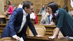Das Bild zeigt SVP-Nationalrat Roger Köppel und GLP-Nationalrätin Tiana Moser im Nationalratssaal.