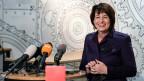 Bundesrätin Doris Leuthard an ihrem Rückblick über ihre zwölfjährige Tätigkeit als Bundesrätin.