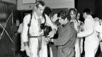 Am 21. Januar 1969 kam es im Versuchsreaktor in Lucens im Kanton Waadt zu einem schweren Reaktorunfall. Eine Equipe des Betriebspersonals mit Strahlenschutzausrüstung betritt nach dem Reaktorunfall die Reaktorkaverne Lucens. Aufnahme vom 29. Januar 1969.