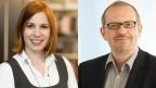 Denise Zumbrunnen, Co-Geschäftsführerin einer kleinen Buchhandlung und Vorsitzende des Fachbereichs Buchhandel im Schweizer Buchhänder- und Verleger- Verband und der Historiker Adrian Scherrer.