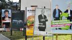 Plakate für die kommenden Wahlen im Kanton Zürich.