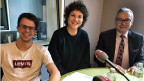 Benjamin Gautschi, Jus-Student (links), Franziska Meinherz, Mitorganisatorin des Klimastreiks in Lausanne (Mitte) und der Zürcher FDP-Ständerat Ruedi Noser im SRF-Bundeshausstudio in Bern.