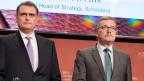 Thomas Jordan, Präsident Schweizerische Nationalbank  (links) und  Jürgen Stark, ehemaliger Chefökonomen der EZB.