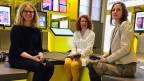 Die Gesprächsleiterin Barbara Peter (li.), in der Mitte sitzt Erika Hebeisen und rechts Denise Tonella.