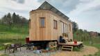 Wohnwagen aus Holz.