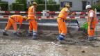 Symbolbild. Arbeiter auf einer Baustelle.
