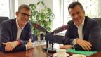 Philippe Hildebrand (rechts) im Gespräch mit Jan Baumann.