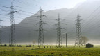 Strommasten und Stromleitungen in der Linth-Ebene bei Niederurnen im Kanton Glarus.
