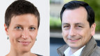 Carla Hoinkes, Expertin für Landwirtschaft und Biodiversität bei der Nichtregierungsorganisation Public Eye (links) und Roman Mazzotta, Länderpräsident Schweiz beim Agrochemiekonzern Syngenta.