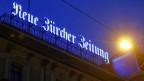 Logo der Neue Zürcher Zeitung in Zürich.