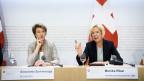 Bundesrätin Simonetta Sommaruga (links) und SBB-Verwaltungsratspräsidentin Monika Ribar.