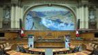 Blick in den leeren Nationalratssaal.