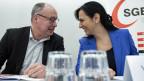 Pierre-Yves Maillard, Präsident und Vania Alleva, Vize-Präsidentin des Schweizerischen Gewerkschaftsbund SGB.