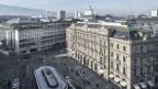 Blick auf den Zürcher Paradeplatz, auf welchem die beiden Grossbanken UBS und CS ihren Sitz haben.