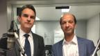 FDP-Nationalrat Beat Walti und FDP-Ständerat Beat Rieder im Radiostudio Bern.