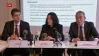 Der Kanton Basel informiert an einer Medienkonferenz über die Unterstützung der Wirtschaft wegen des Coronavirus. Auf dem Podium sind Christoph Brutschin, Wirtschaftsdirektor, Tanja Soland, Finanzdirektorin und Basil Heeb, CEO Basler Kantonalbank.
