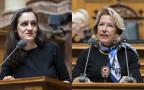 Das Bild zeigt Marionna Schlatter von den Grünen und Jacqueline de Quattro von der FDP im Nationalratssaal in Bern.