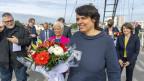 Elisabeth Ackermann, Regierungspräsidentin Basel-Stadt, an einem symbolischen Treffen auf der Dreiländerbrücke zur Wiedereröffnung der Grenzen.