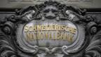 Das Logo der SNB am Bundesplatz in Bern.