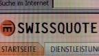 Das Logo von Swissquote auf einem Computerbildschirm.