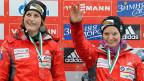 Tanya Mayer und Fabienne Meyer, am 26. Januar, nach ihrem Sieg im Zweierbobrennen im deutschen Königssee.
