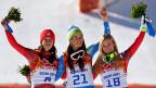 Dominique Gisin und Tina Maze gewinnen beide Gold, Lara Gut Bronze.