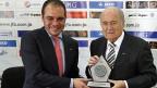 Fifa-Vizepräsident al-Husseini und Fifa-Präsident Sepp Blatter, am 26. Mai 2014 in der jordanischen Hauptstadt Amman.