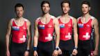 Simon Niepmann, Mario Gyr, Simon Schürch und Lucas Tramèr, die Gold-Ruderer des Leichtgewicht-Vierers.