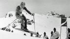 Bernhard Russi auf der Abfahrt in St. Moritz, am 9. Februar 1974.