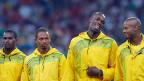 Vor zwei Monaten verloren die Jamaikaner das damals gewonnene Staffel-Olympiagold wegen eines positiven Dopingbefunds von Nesta Carter (1. Von links, Peking, 23. August 2008)