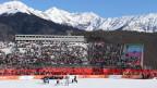 Ski-Abfahrt Zielraum der olympischen Spielen in Sotschi.