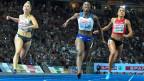 Europameisterschaft in Berlin: 100 m Finale. Die Schweizerin Mujinga Kambundji wird Vierte.