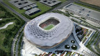 Modell des Qatar Foundation Stadiums wo 2022 die Fussball-Weltmeisterschaft 2022 stattfinden wird.