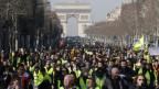 Tausende Menschen in gelben Westen protestieren friedlich in Paris.
