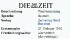 Wöchentliche Deutung des Weltgeschehens: «Die Zeit».