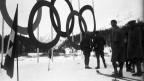 Die Olympischen Ringe 1928 in St. Moritz