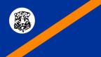 Flagge von Bophuthatswana; Leopardenkopf auf blauem Grund und orangem Streifen.
