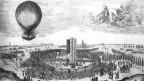 Dieser zeitgenössische Stich zeigt Jean-Pierre Blanchard bei einer Ballonfahrt an der Frankfurter Herbstmesse 1785.